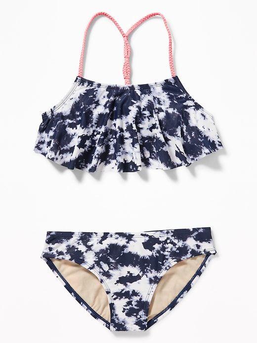 04d62e565a Old Navy Girls' Ruffled Braided-Strap Bikinis Cool Tie Dye Regular Size XL