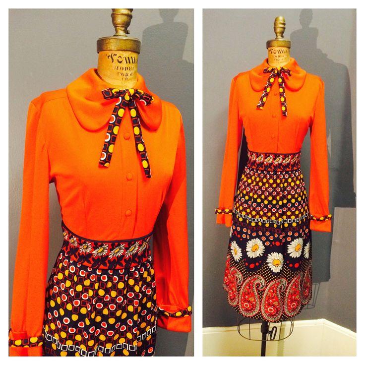 GERBER DAISY & PAISLEY Vintage 1960s 1960's Mandarin