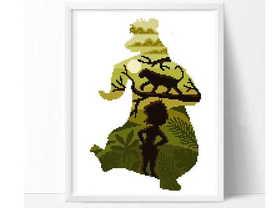 The Jungle Book Mowgli modern Cross Stitch Pattern, easy counted cross stitch chart, Disney boy nursery decor, Disney fan gift, DIY, pdf