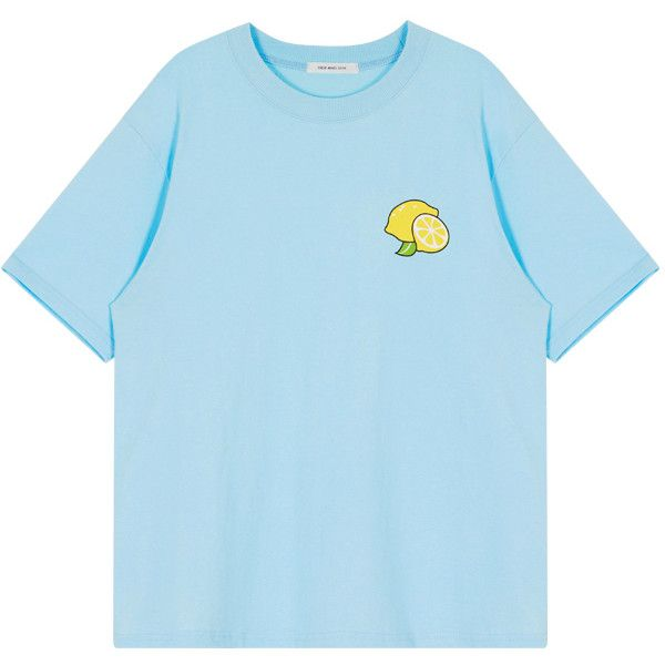 DETAIL ($24) ❤ liked on Polyvore featuring tops, t-shirts, short sleeve t shirt, blue top, short sleeve tee, blue tee and lemon print top