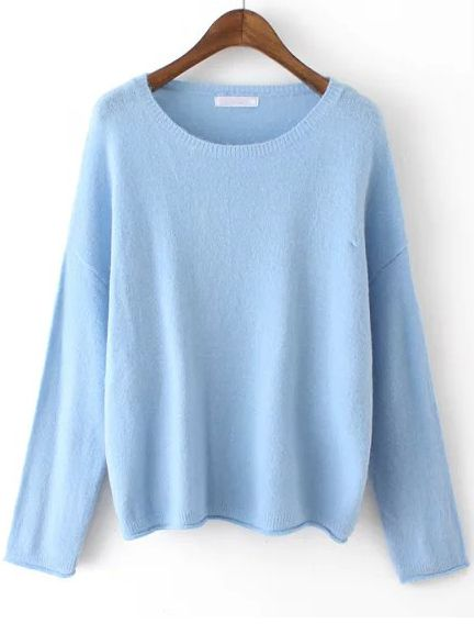 Blue Round Neck Knit Sweater