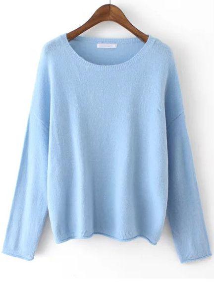 Blue Round Neck Knit Sweater Fall Wardrobe Pinterest