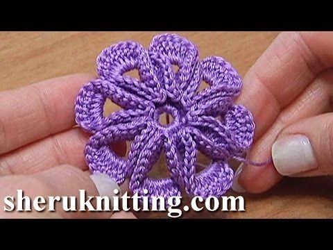 Crochet 3D Center Flower Tutorial 7 Blume mit leichtem 3D-Effekt häkeln - YouTube