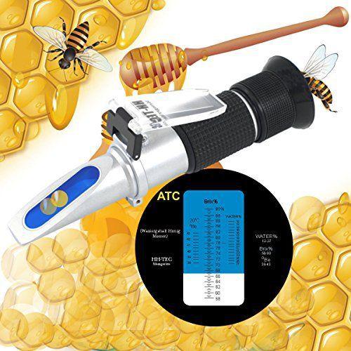 HH Tec apiculteurs Réfractomètre de miel 58-90% brix 38-43 Baume 12-27% d'eau humides sucre pour apiculteurs Miel Condensation Lait Huiles…