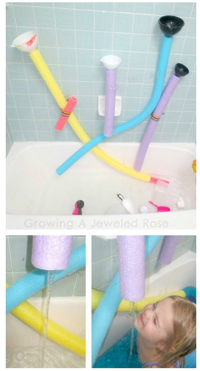 Here's a fun way to use those noodles- a pool noodle water wall! Tons of fun, takes seconds to put together, can be set up in the bath or outside, and afterwards you still have in tact noodles to use for their intended purpose- THE POOL!