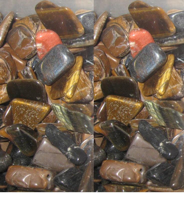 Angel stones, tiger eye, black gray quartz