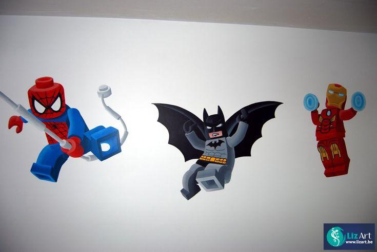 52 best muurschilderingen met bekende figuren voor - Spiderman batman lego ...