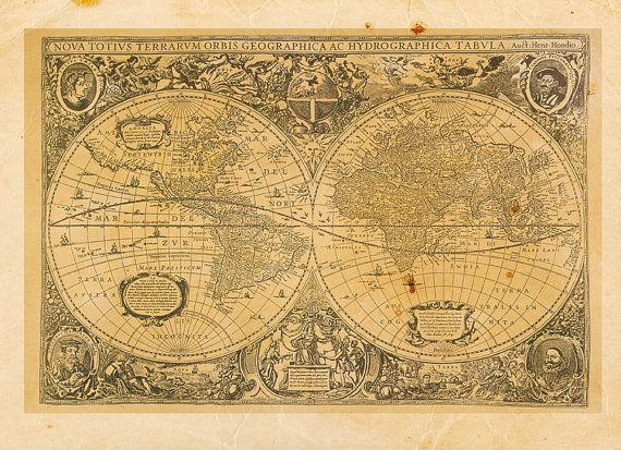 Vintage World Map Print 8x10 P46 by OrangeClipart on Etsy, $14.00