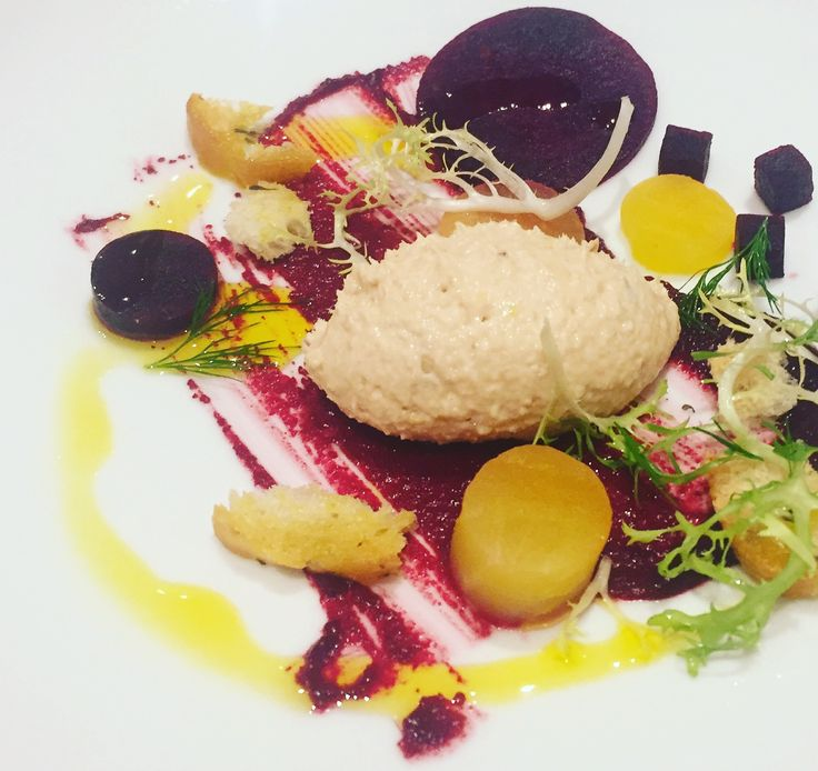 Smoked Blagdon trout mousse and beetroot three ways