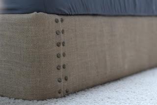 Burlap Upholstered Box Spring