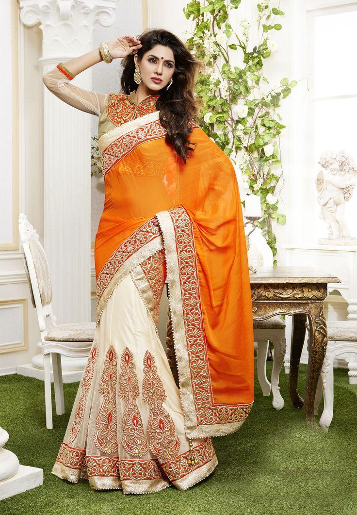 Orange & Cream colour heavy lehanga choli