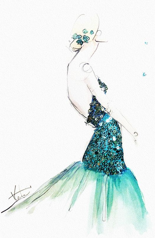Elegant fashion sketch - watercolour & sequins, fashion illustration