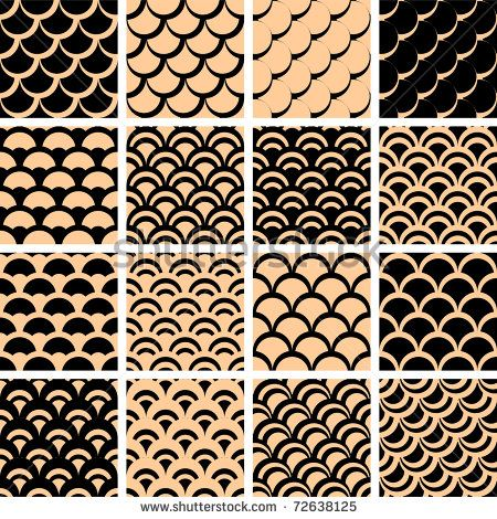 """Seamless patterns set with """"fish scales"""" texture. Vector illustration."""