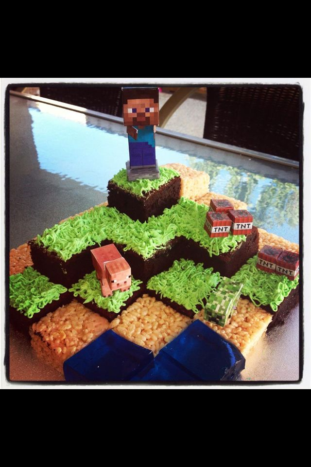 Minecraft cake - made by me. So easy to do and so effective.