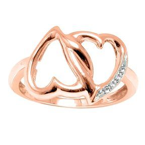 18Kt Rose Gold Plated 925 Sterling Natural Diamond Double Heart Promise Ring Nr # With Free Stud Earring by JewelryHub on Opensky
