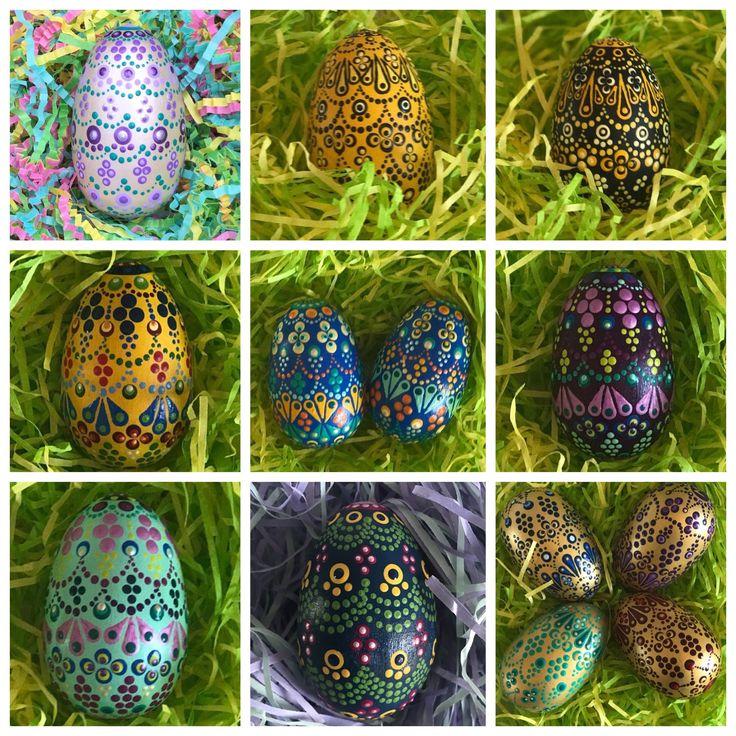 Hand Painted decorative wooden Easter eggs #eastereggs #easterfun #easter2018 #dots #dotart #dotmandala #mandala #easterdecoration #easterbasket #tabledecor #eastertablescape #tablescape   #EasterDecor