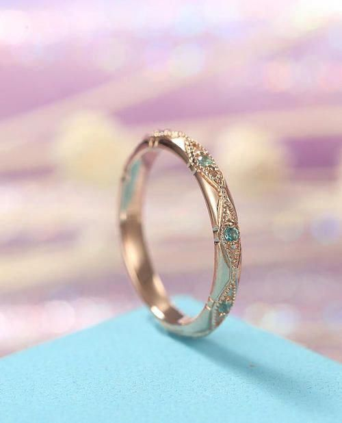 82d6dba13b Vintage Emerald wedding band Rose Gold Women Unique Bridal Jewelry Art Deco  Stacking Engrave antique Birthstone Alternative Promise Gift  bridaljewelry