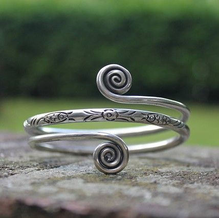Handmade Ethnic Miao Silver Bangle Boho spiral cuff bracelet Tribal spiral jewellery #HandmadeSilverJewelry