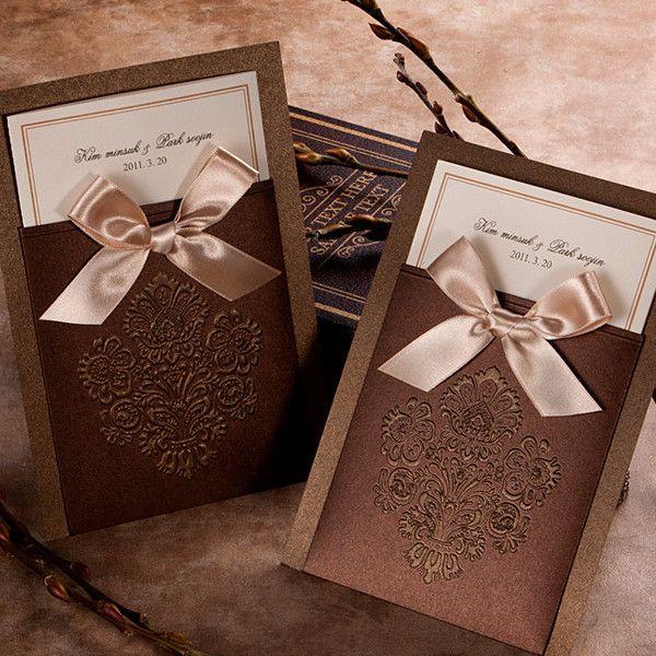Brown Pocket Victorian Wedding Invitation - GA 1014 | ItsInvitation
