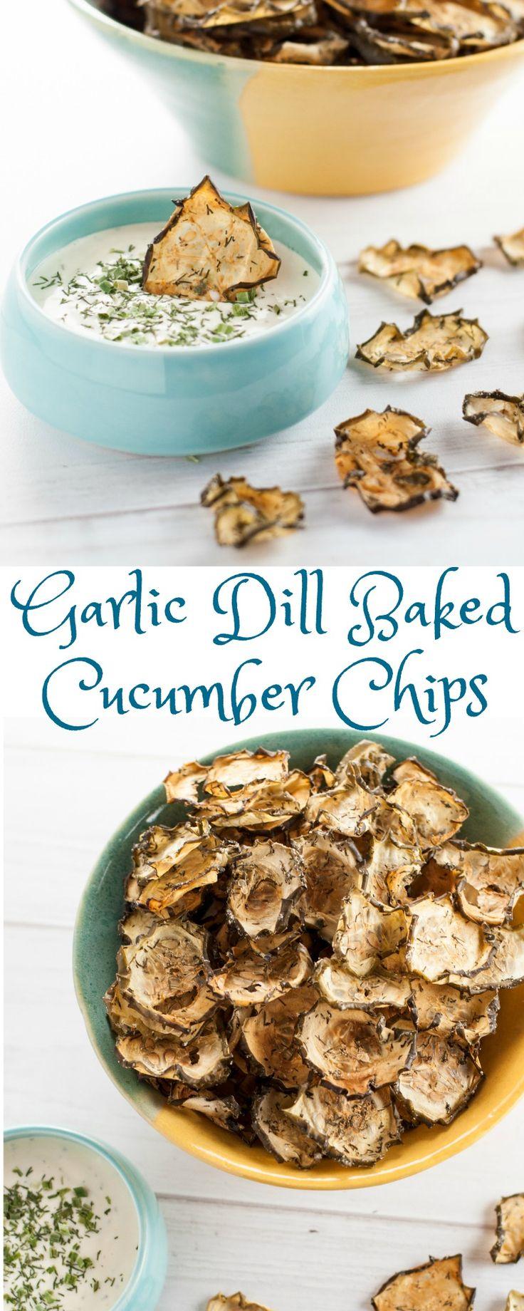 Garlic Dill Baked Cucumber Chips - cucumbers, dried dill, onion powder, garlic powder, ACV, sea salt