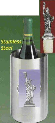Statue of Liberty Wine Chiller with Statue of Liberty Pewter Bottle Stopper . $62.95. Statue of Liberty Single Bottle Iceless Stainless Steel Wine Chiller with detailed pewter emblem. Double walled and thermal insulated. Will keep a prechilled bottle of wine cool up to three hours. Statue of Liberty Pewter Bottle Stopper with choice of either non-staining, dark synthetic cork with attached chain and pewter ring which slips over a bottle's neck or Metal Cone Stopper with two R...