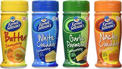 Kernel Season's Popcorn Seasoning 4 Flavor Variety Bundle: (1) Kernel Season's White Cheddar Popcorn Seasoning, (1) Kern