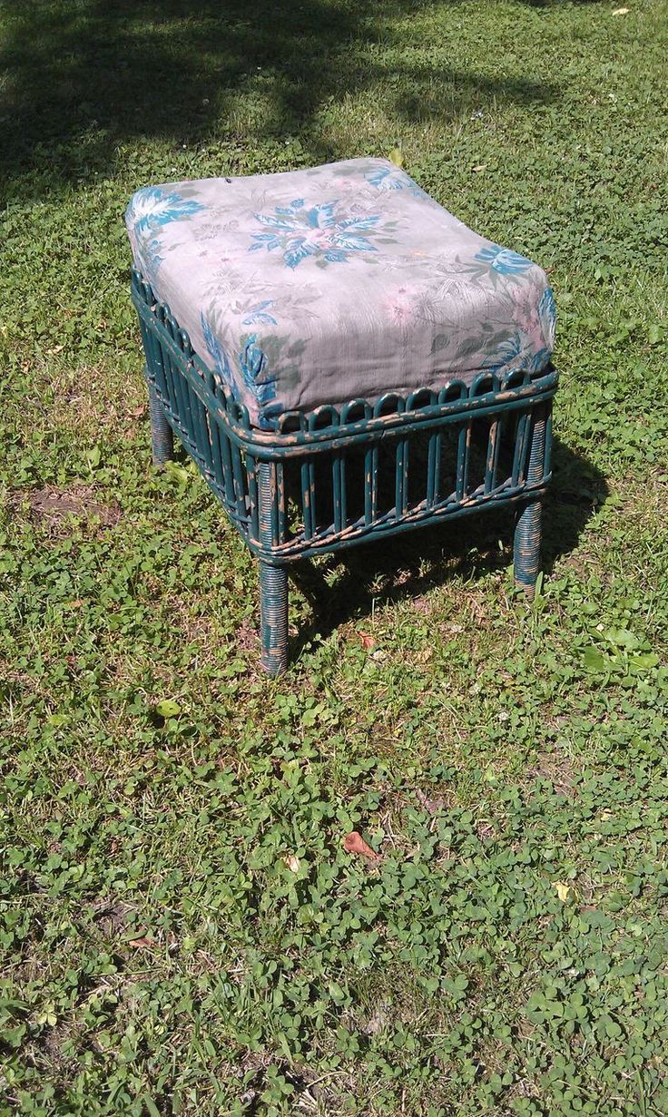 Stick Wicker Footstool Circa 1920's