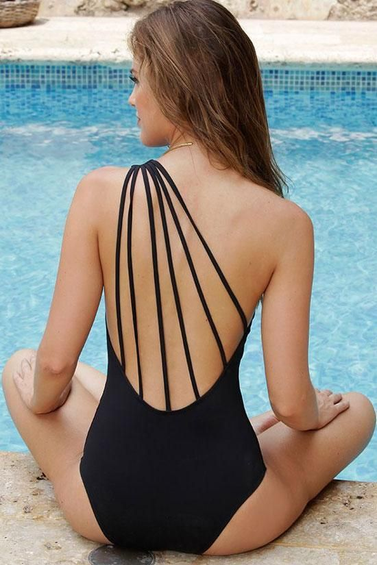CHIC LOW BACK STRAPPY ONE SHOULDER ONE PIECE SWIMSUIT - white XL 2