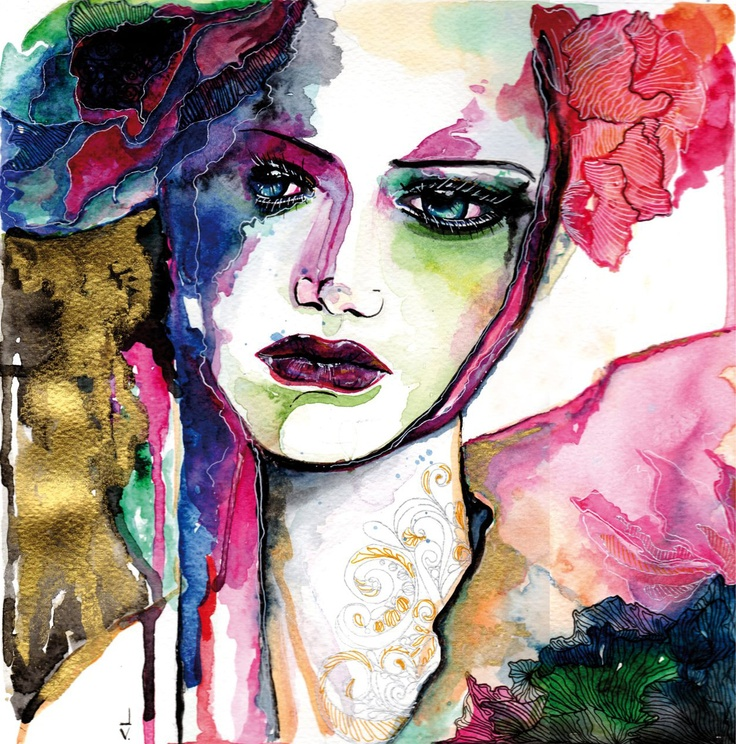 Woman in Flower | watercolor on paper by Valentina Lo Criti