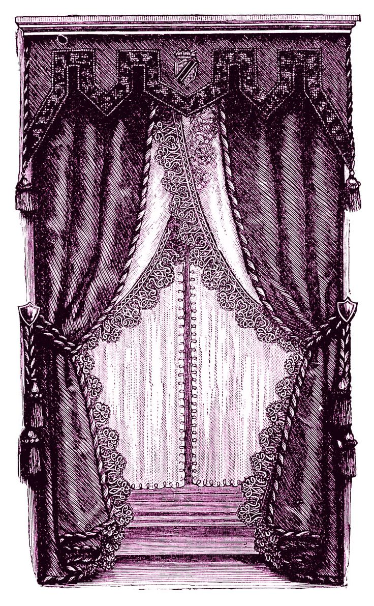 Victorian doorway curtains - Vintage Clip Art Fancy Victorian Curtains Draperies