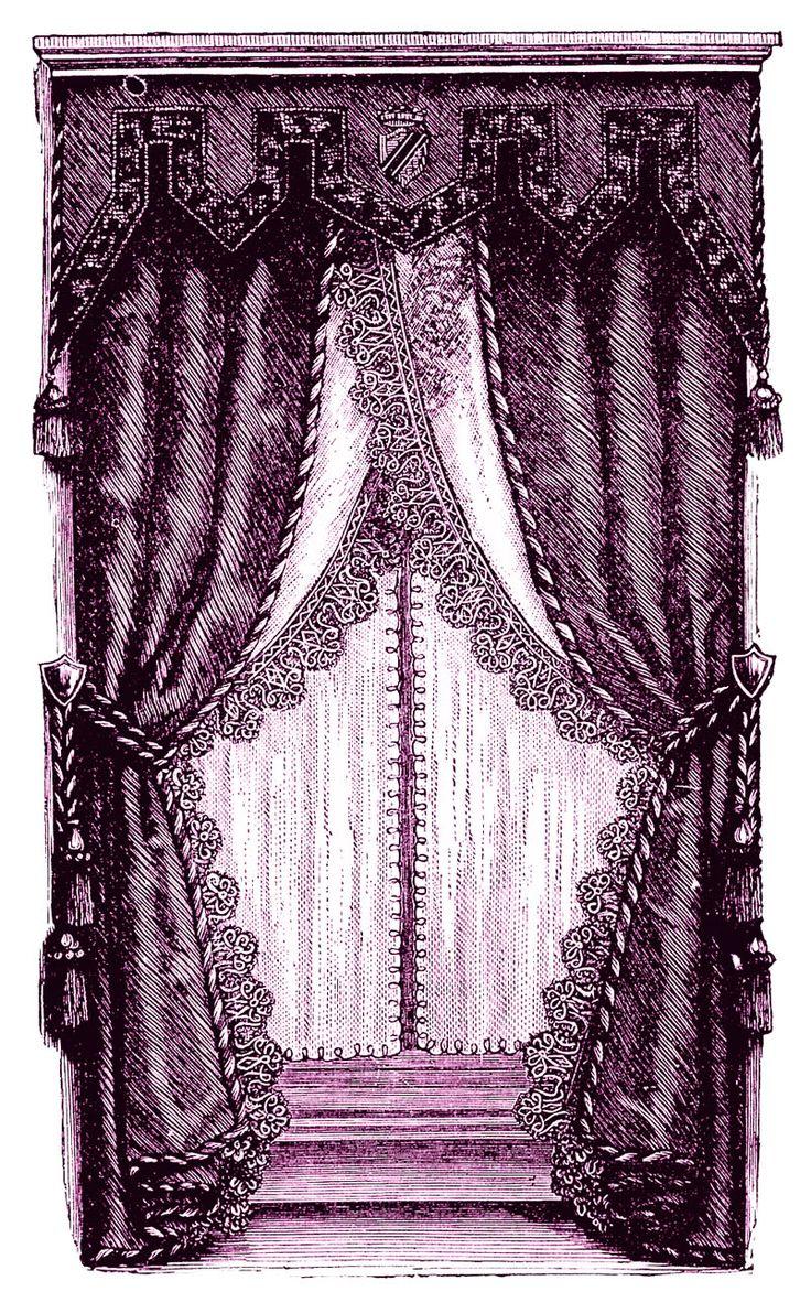Vintage curtains lace white panels drapes window coverings floral - Vintage Clip Art Fancy Victorian Curtains Draperies