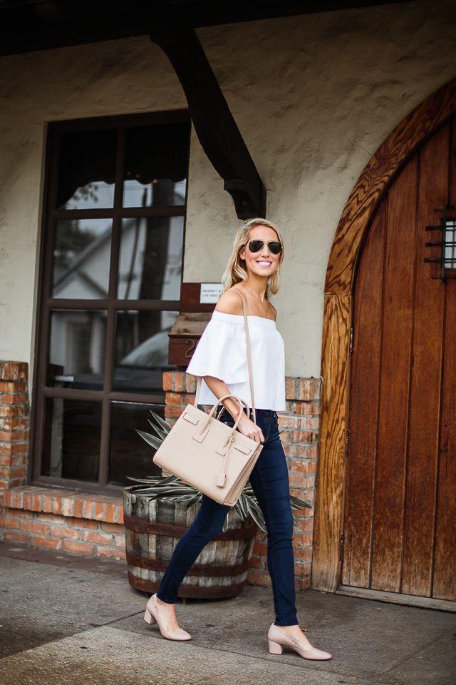 off-the-shoulder top, nude bag, skinny jeans & neutral short heels #style #fashion #summer