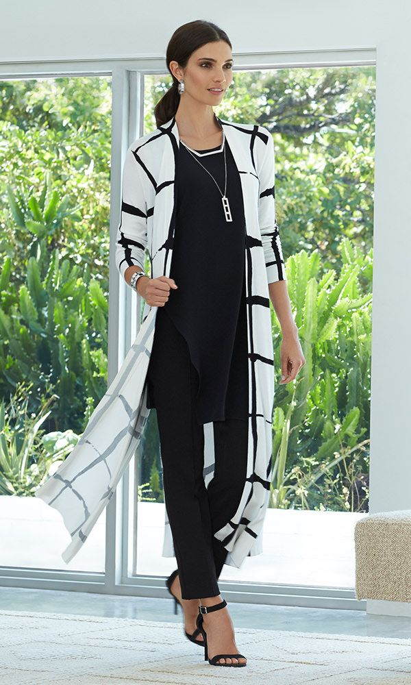 Black Label - The Windowpane Duster Bring on the drama. Layer over all black for a chic look from head-to toe.