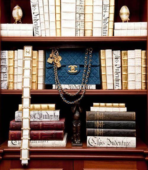 nothing quite like having a chanel bag in your bookcase!