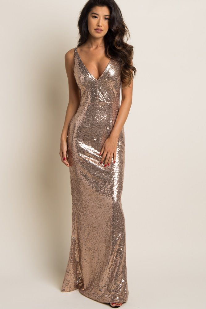 Gold Sequin Fitted Sleeveless Evening Gown in 2019  691dd24f2c32