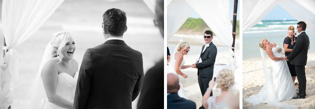 Sequence of bride laughing at the altar