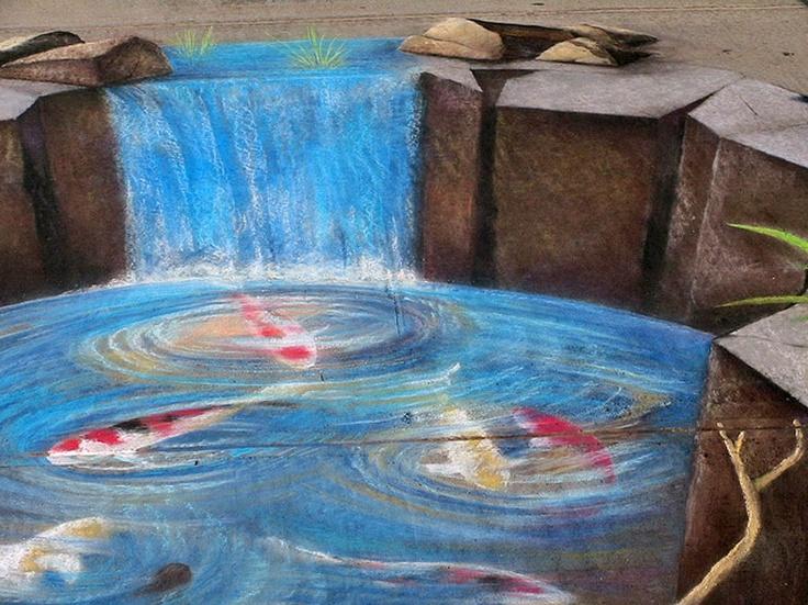 23 best images about 3d art on pinterest street art for Koi pond art