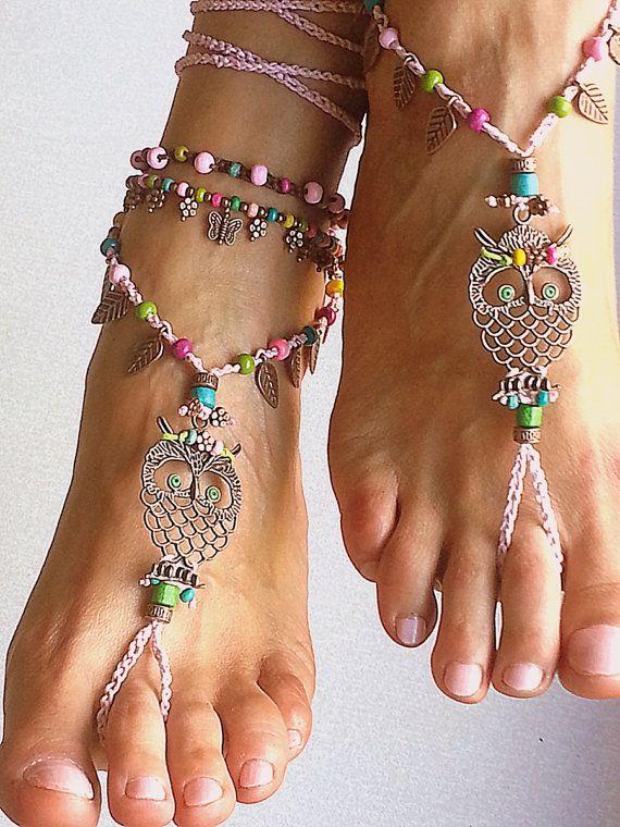 Boho descalzos sandalias de ganchillo buho rosa por FiArt en Etsy