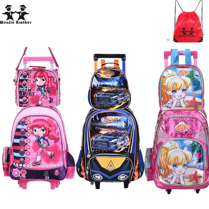 wenjie brother new Children Kids school bags With Wheel Trolley Luggage set backpack Mochila Infantil Bolsas for boys and girls