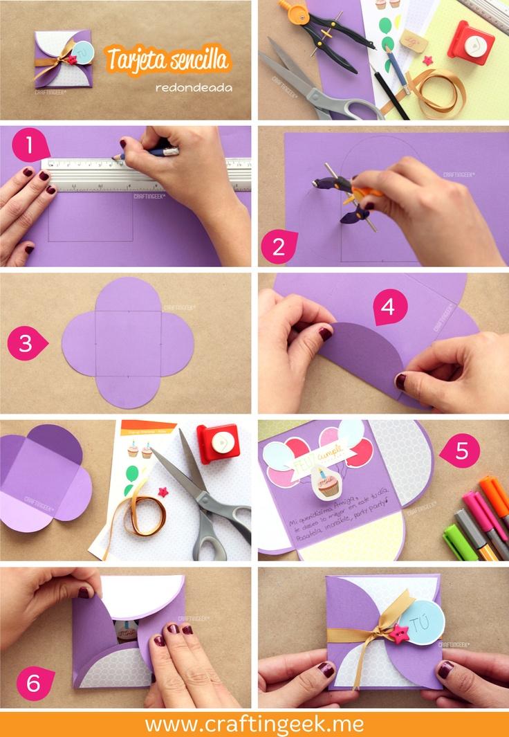 La tarjeta sencilla con bordes redondeados. Hazla en 1, 2 por 3! ;) -- más www.craftingeek.me