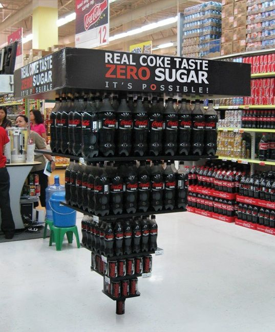 This is such a clever display the bottles to enhance the idea of making the impossible possible! Also a great way to stand out from other pop brands in the store.