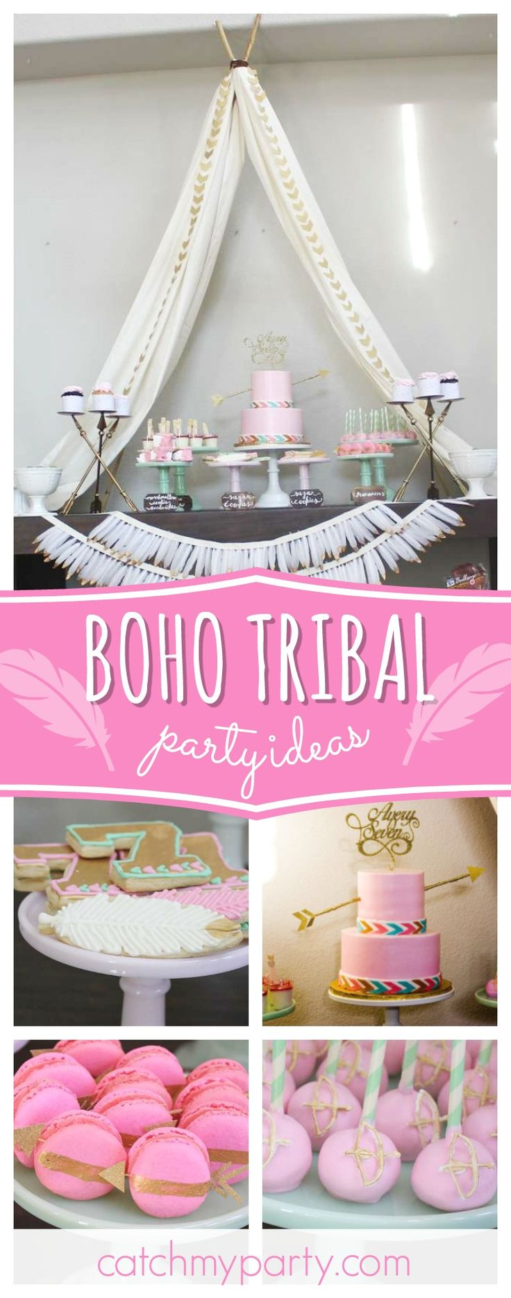 Take a look at this gorgeous boho tribal birthday party! The birthday cake is so pretty!! See more party ideas and share yours at CatchMyParty.com #partyideas #bohemian #tribal #girlbirthday #boho