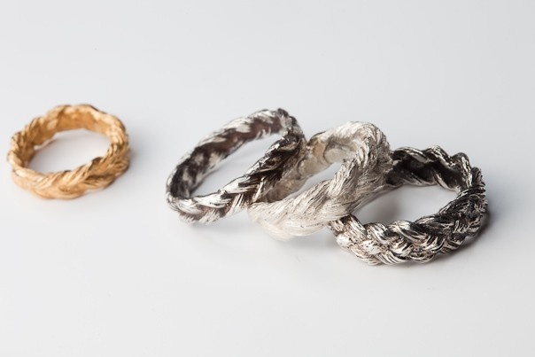 {braided hair ring} such a unique design/texture, cast by actual braided human hair! by vanderglas