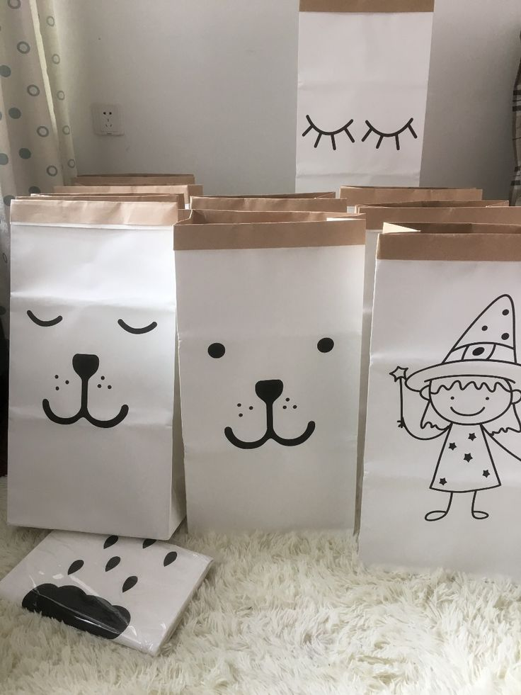 INS popular heavy kraft paper bag children room organizer bag storage bag for toy and baby clothings