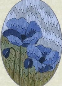 Blue Poppy Long Stitch Greeting Card/Picture Kit