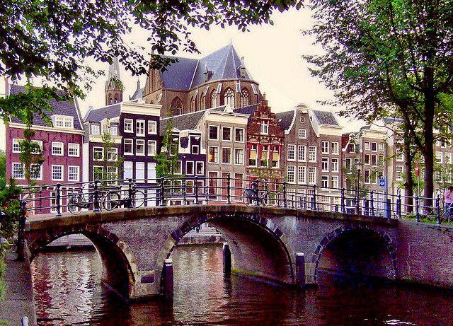 Amsterdam, houses and bridge