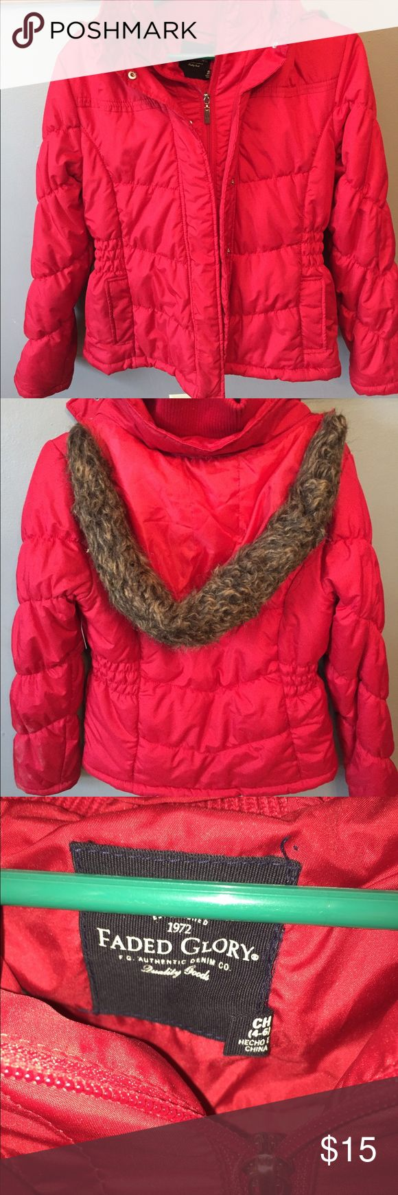 Winter puffer jacket Red winter puffer jacket with removable hood.  Keeps nice and warm this winter! Faded Glory Jackets & Coats Puffers