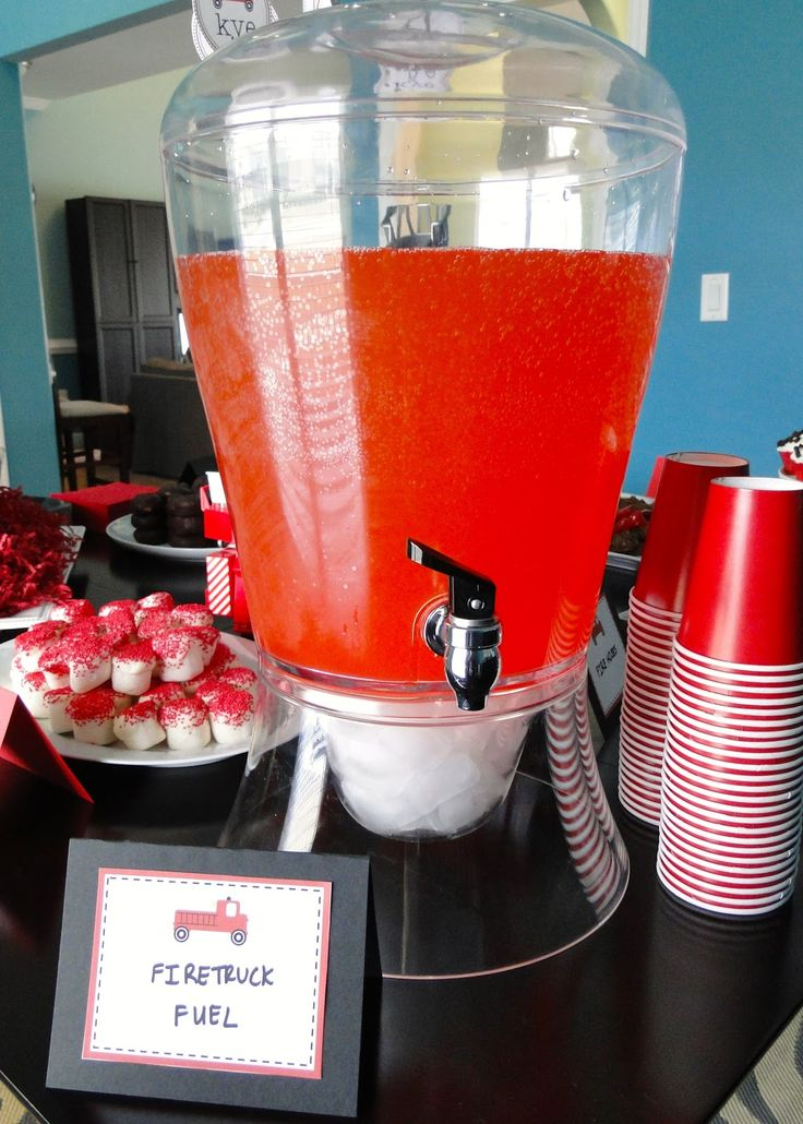"firetruck theme party food ideas red drink ""firetruck fuel"""