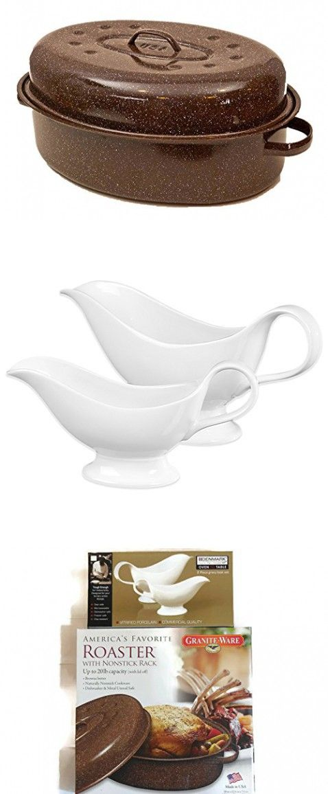 granite ware turkey roasting pan with rack u0026 lid bundle with denmark gravy boat 2 piece