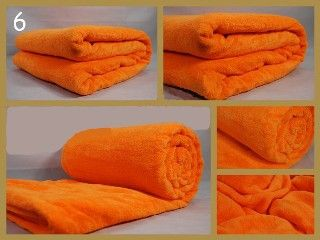 Koc z mikrofibry 160x210 cm koloru pomarańczowego